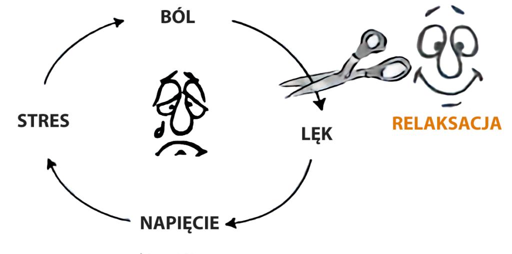 Schemat cyklu bólu przełamanego relaksacją